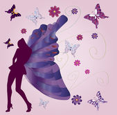 Butterfly-lady - vector — Stock Vector