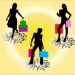 Shopping girls silhouette - vector — Stock Vector