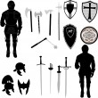 Collection of medieval war elements - vector - Stock Vector