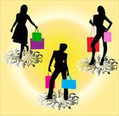 Shopping girls silhouette - vector — Stock Vector