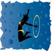 Gymnast girl silhouette - vector — Stock Vector