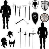 Collection of medieval war elements - vector — Vettoriale Stock
