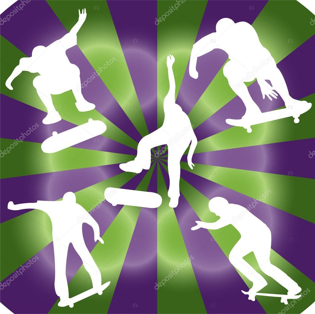 Skater collection with background - vector  Stock Vector #10376392