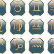 Stock Vector: Zodiac buttons - vector