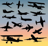 Airplanes silhouettes collection - vector — Stock Vector