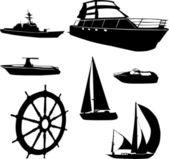 Boats silhouettes - vector — Stock Vector