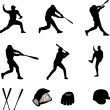 Baseball players collection - vector — Vector de stock #9686229