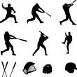 collection de joueurs de baseball - vecteur — Vecteur