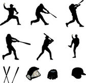 Baseball players collection - vector — Stock Vector