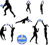 Volleyball players - vector — Stock Vector