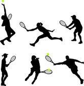 Tennis players - vector — Stock Vector