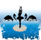 Ballet dancing with swans - vector — Stock Vector