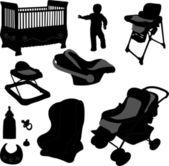 Baby equipments - vector — Stock Vector
