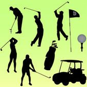 Golf players collection - vector — Stock Vector
