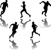 Silhouette of runners - vector — Stock Vector