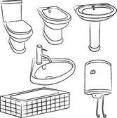 Bathroom objects - vector — Stock Vector