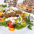 Falafel Salad with Pita and Hummus — Stock Photo #8553178