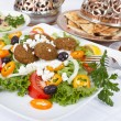 Stock Photo: Falafel Salad with Pitand Hummus