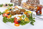 Falafel Salad with Pita and Hummus — Stock Photo