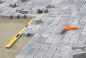 Paving Backyard Patio — Stock Photo
