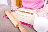 Prepping Turkish Pide — Stock Photo