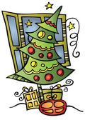 Noel ağacı ve süslemeler — Stok Vektör
