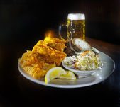 Fish Fry and Beer — Stock Photo