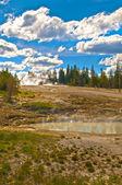 Yellowstone steaming lake — Stock Photo