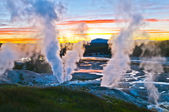 Norris Geyser Basin after Sunset — Stock Photo