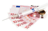 Cash injection of euros — Stock fotografie