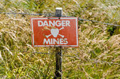Minefield sign — Stock Photo