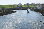 Sunlight glistening on water in Eyemouth harbour, Berwickshire — Stock Photo