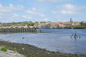 Tweed estuary to Berwick-upon-Tweed city walls, bridges and rive — Stock Photo