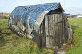 Old boat hut at Lindisfarne island — Stock Photo