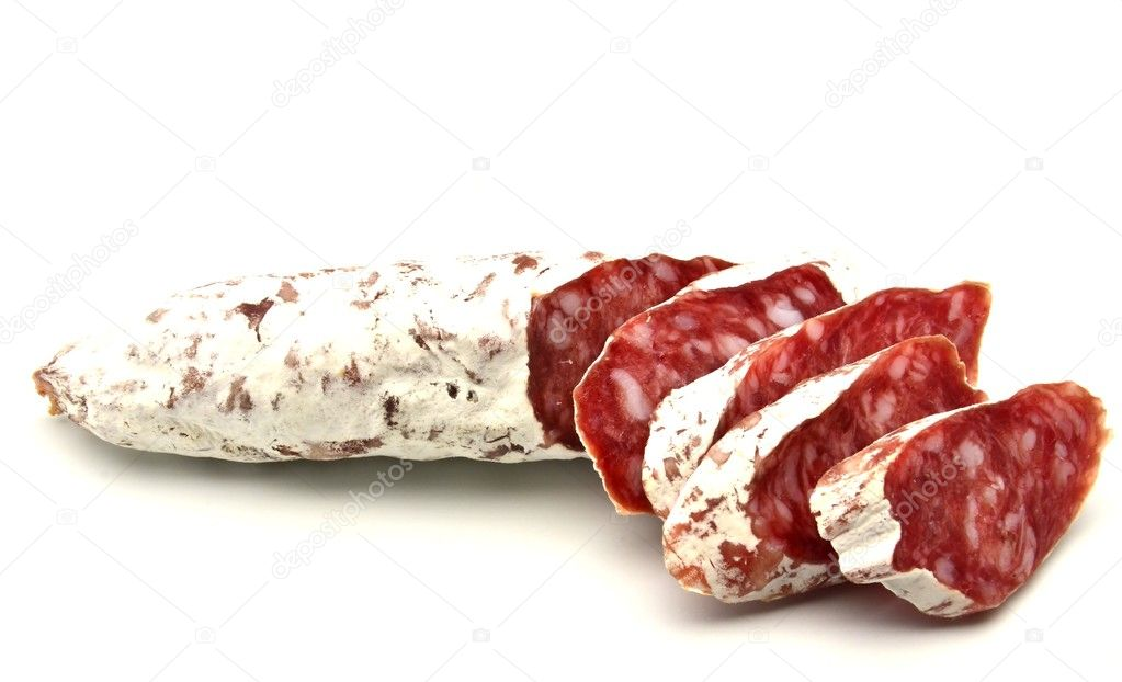 Several slices of Salchichon next to each other surrounded by white background — Stock Photo #10489407