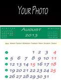Calendar of august 2013 — Stock Photo