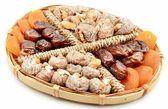 Figs, apricots, dates and walnuts — Stock Photo