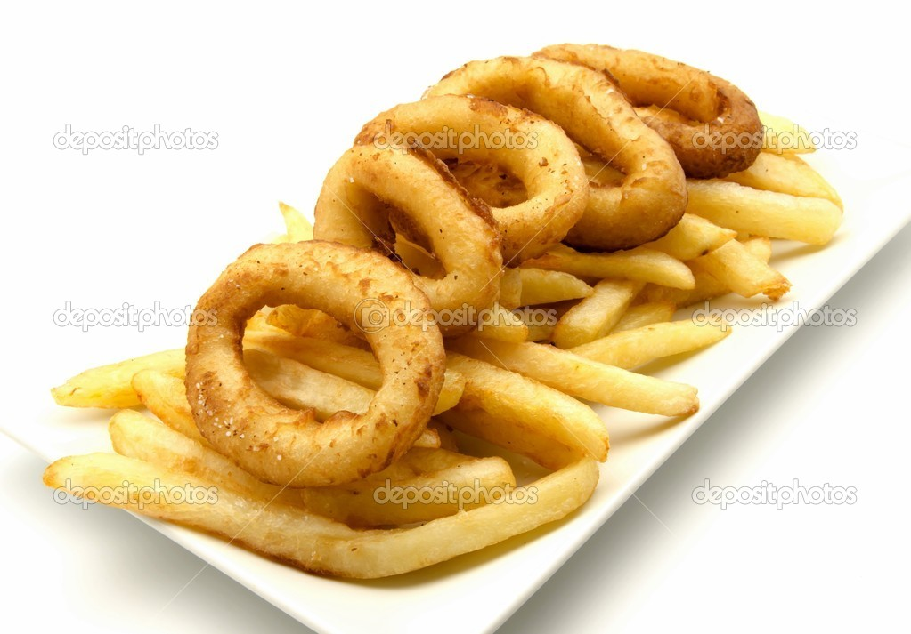 Plate of squid and chips surrounded by white background — Stock Photo #10728283