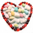 Necklace red heart-shaped — Stock Photo