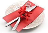 Covered dish and gift card — Stockfoto