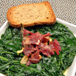 Stock Photo: Spinach stew with ham and toast