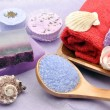 Two purple soaps — Stock Photo