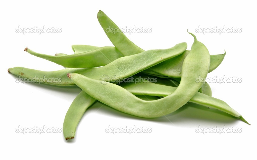 Several green beans next to each other surrounded by white background — Stock Photo #9618710