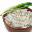 Stock Photo: Fresh curd on clay plate with onion