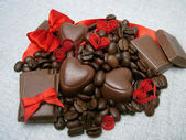 Chocolate with hearts — Stock Photo