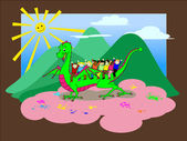 Kids riding the dragon - with clipping path — Stock Vector