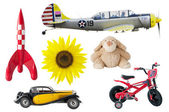 Boys toys - rocket, bear, car, bike, airplane, sunflower — Stock Photo