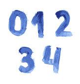 Odręczny niebieski akwarela alfabet — Wektor stockowy