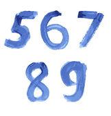 Manuscrita abecedario acuarela azul — Vector de stock