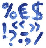 El yazısıyla yazılan mavi suluboya alfabesi — Stok Vektör